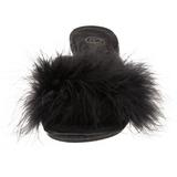 Noir Plumes 8 cm BELLE-301F Chaussures Mules pour Hommes