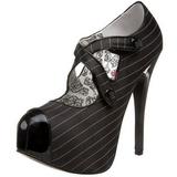 Noir Rayures 14,5 cm Burlesque TEEZE-23 Chaussures pour femmes a talon