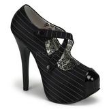Noir Rayures 14,5 cm TEEZE-23 Chaussures pour femmes a talon