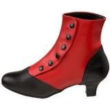 Noir Rouge 5 cm FLORA-1023 Bottines Femmes