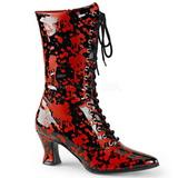 Noir Rouge 7 cm VICTORIAN-120BL bottines à lacets femmes