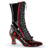 Noir Rouge 7 cm VICTORIAN-122 bottines à lacets femmes