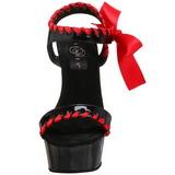 Noir Rouge Verni 15 cm DELIGHT-615 Chaussures Stilettos Talon Hauts