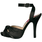 Noir Satin 12,5 cm EVE-01 grande taille sandales femmes