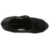 Noir Satin 13,5 cm BELLA-26 Strass Plateforme Escarpins Hauts Talons