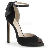 Noir Satin 13 cm SEXY-16 Chaussures Escarpins Classiques