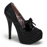 Noir Satin 14,5 cm Burlesque BORDELLO TEEZE-01 Escarpins Haut Talon