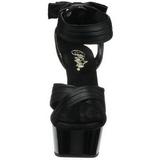 Noir Satin 15 cm DELIGHT-668 Sandales de Soirée a Talon