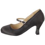 Noir Satin 8 cm FLAPPER-20 Escarpins Chaussures Femme