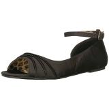 Noir Satin ANNA-03 grande taille chaussures ballerines