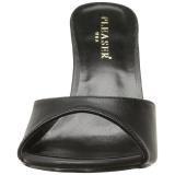 Noir Similicuir 10 cm CLASSIQUE-01 grande taille mules femmes