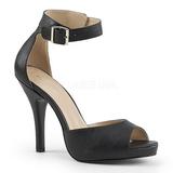 Noir Similicuir 12,5 cm EVE-02 grande taille sandales femmes