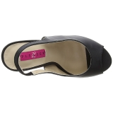 Noir Similicuir 12,5 cm EVE-04 grande taille sandales femmes