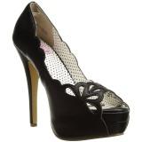 Noir Similicuir 13,5 cm BELLA-30 chaussures escarpins bout ouvert