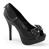 Noir Similicuir 13,5 cm PIXIE-16 Chaussures Escarpins Gothique