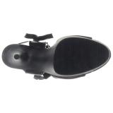Noir Similicuir 15 cm DELIGHT-600-14 sandales pleaser plateforme