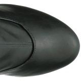 Noir Similicuir 15 cm KISS-3000 Plateforme cuissardes et genoux