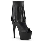 Noir Similicuir 18 cm ADORE-1019 bottines a frangees pour femmes a talon