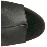 Noir Similicuir 18 cm ADORE-3019 Plateforme cuissardes et genoux