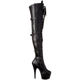Noir Similicuir 18 cm ADORE-3028 Plateforme cuissardes et genoux