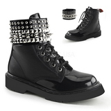 Noir Similicuir 3,0 cm RIVAL-106 punk gothique bottines