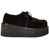 Noir Similicuir CREEPER-216 Chaussures Creepers Femmes Plateforme