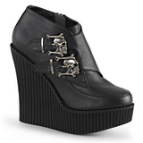 Noir Similicuir CREEPER-306 chaussures creepers compensées