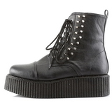 Noir Similicuir CREEPER-573 Bottines Creepers Hommes Plateforme