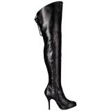 Noir Similicuir Mollets larges 12,5 cm EVE-312 bottes cuissardes jambes larges