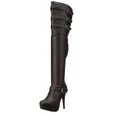 Noir Similicuir Mollets larges 13 cm CHLOE-308 bottes cuissardes jambes larges