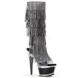 Noir Strass 16,5 cm ILLUSION-2017RSF bottes a frangees pour femmes a talon
