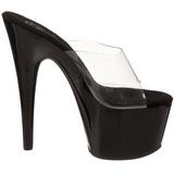 Noir Transparent 18 cm ADORE-701 Plateforme Mules Hautes