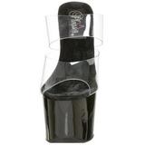 Noir Transparent 18 cm SKY-302 Plateau Mules Talons Hauts