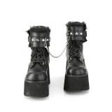 Noir Vegan 9 cm ASHES-57 bottines à talons épais plateforme lolita