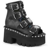 Noir Vegan 9 cm ASHES-70 bottines à talons épais plateforme lolita