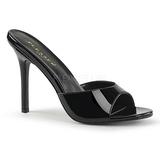 Noir Verni 10 cm CLASSIQUE-01 grande taille mules femmes