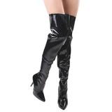 Noir Verni 13 cm SEDUCE-3010 bottes cuissardes hommes