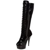 Noir Verni 15,5 cm DELIGHT-2023 Plateforme Bottes Femmes
