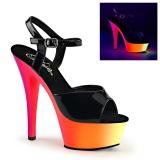 Noir Verni 15,5 cm RAINBOW-209UV Plateforme Neon Sandales Femmes