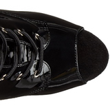 Noir Verni 15 cm DELIGHT-1033 Plateforme Bottines Bout Ouvert