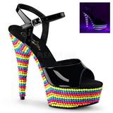 Noir Verni 15 cm DELIGHT-609RBS Plateforme Neon Sandales Femmes