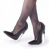 Noir Verni 15 cm SCREAM-01 Chaussures Stilettos Escarpins Femmes