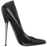 Noir Verni 16 cm DAGGER-01 Chaussures Stilettos Escarpins Femmes