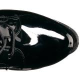 Noir Verni 19 cm TABOO-2023 plateformes bottes à lacets pour femmes