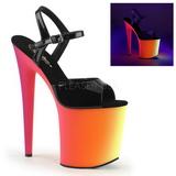 Noir Verni 20 cm RAINBOW-809UV Plateforme Neon Sandales Femmes