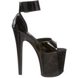 Noir Verni 20 cm XTREME-875 Plateforme Chaussures Talon Haut