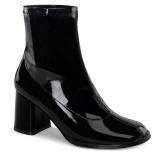 Noir Verni 7,5 cm GOGO-150 bottines à talons épais stretch