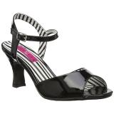Noir Verni 7,5 cm JENNA-09 grande taille sandales femmes