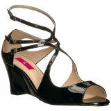 Noir Verni 7,5 cm KIMBERLY-04 grande taille sandales femmes