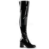 Noir Verni 8 cm GOGO-3000 bottes cuissardes hommes